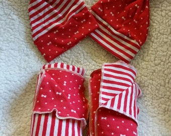knit baby blankets and hats red/white  perfect for Christmas or twins,