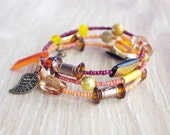 Orange Yellow memory wire bracelet beaded beads agate stone vintage bead
