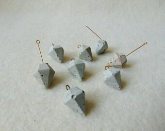 Concrete Diamonds 20mm, Set of 6 Hand casting diamond pendants, DIY Goncrete Necklace, Geometric Jewelry