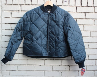 Deadstock GOLDEN FLEECE Quilted Jacket Made in U.S.A. nos zip up outdoor outerwear made in usa