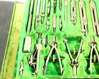 German Made Architectural Drafting 20 Piece Vintage S 888 Drafting Tool Set