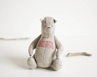 Wool Felt Teddy Bear 8 inches Red Embroidered Stuffed Animal Woodland Animals Soft Animal Sculpture Handmade Toy Felt Toys Stuffed Toys