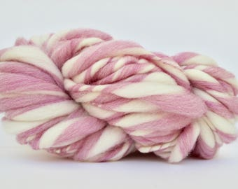 Thick and Thin Melange  Hand Spun  Super Bulky  Wool  TTY  Cotton Candy Heather / White  Color