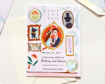 Cute, pink, playful gallery wall Save the Date, Invitation, and rsvp