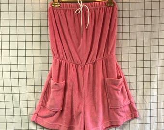 Vintage Pink Terry Cloth Strapless Tie Romper