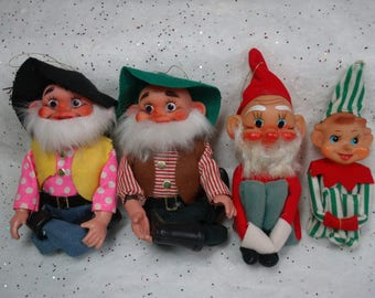 Christmas Elf Elves, Vintage Felt Knee Hugger Pixies, Hobos Japan Ornament