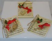 ON SALE! Vintage Ornaments Christmas Music Scrolls with Instruments