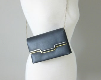Vintage NAVY CHAIN STRAP Bag/Silver and Gold Hardware