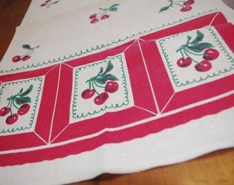 Vintage Startex Kitchen Towel Printed Linen Cloth / Tea Towel: Cherries & Stripes 1950s