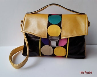 Yellow and black leather satchel handbag and fabrics multicolor peas