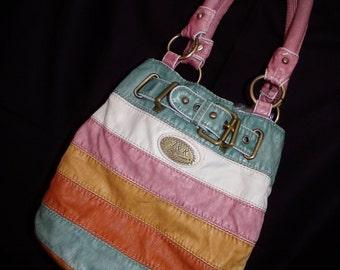 John Romain Purse.  Spring Purse , Multi Color Hand Bag Purse.  Vintage Rainbow Purse.  Classic Bags. Preppy Bag.  John Romain Bags.