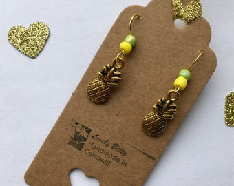 Fresh and funky gold, yellow and green pineapple earrings