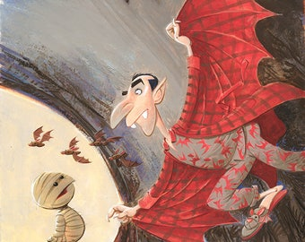 Drac! gouache illustration from Where's My Mummy?
