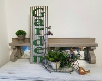 Galvanized Garden Sign Green Letters