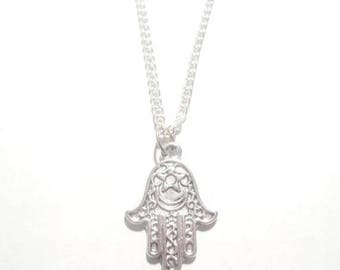 Hamsa Necklace. Hamsa Hand Necklace. Hamsa Charm. Evil Eye Necklace. Protection Jewelry. Yoga Necklace.