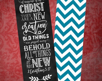 Set of 2 Corinthians 5:17 bookmarks, chalkboard style