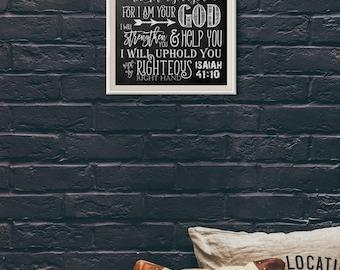 Scripture Art - Isaiah 41:10 Chalkboard Style