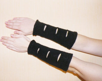 Knitted black arm warmers. Long black arm warmers. Knitted black hand warmers with holes. Soft black hand warmers. Winter clothing