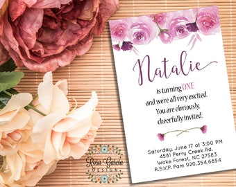 FLORAL Watercolor BIRTHDAY INVITATION - Birthday Party Invitation - Digital File - Fully Customized - Floral Watercolor Birthday Card