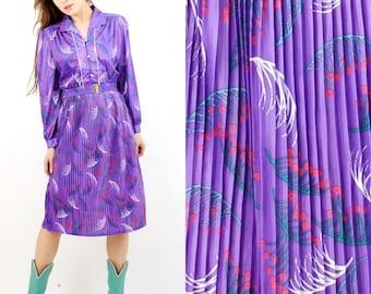 Vintage Violet Floral Belted Midi Dress Size 40