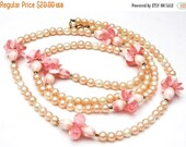 Vintage Pink Pearl flower necklace -  long white pink bead - opera legnth necklace