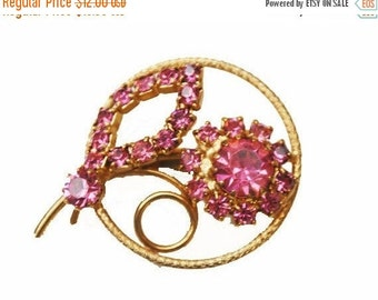 Pink Rhinestone Flower Brooch Mid century floral pin