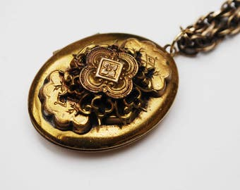 Floral Locket Necklace - resposse gold plated  - Art Nouveau Style -   double large oval ornate layered -  locket Pendant