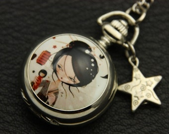 Necklace pocket watch kokeshi Japanese girl 2222M