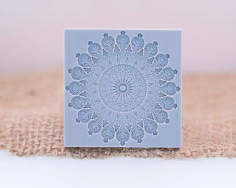 """Florada - Mandala Texture Stamp 38 X38  mm / 1 1/2"""" X 1 1/2"""" For PMC, Art Clay, Metal Clays, Polymer Clay, Fimo (5)"""