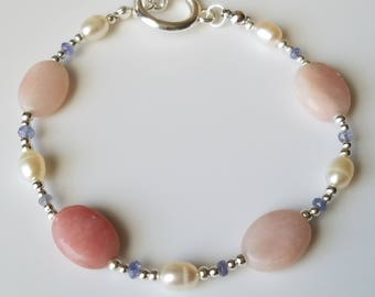 Delicate Beaded Gemstone Bracelet Natural Pink Opal Oval Natural Tanzanite Faceted Rondelles Freshwater Pearl Silver Plated Hypoallergenic