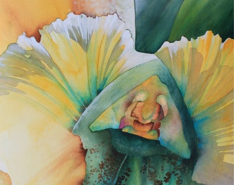Hawaii.....Art Original Watercolor Painting Inside a Tropical WHITE ORCHID