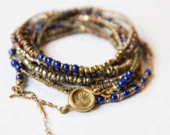 Lucky Lapis Lazuli, Pyrite and Iolite Mixed Heishi Inner Wisdom Wrap Bracelet/Necklace