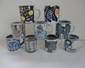 Vintage Lot of Ellen Malher Fajance Annual Mugs, Royal Copenhagen, Made in Denmark, Ellen Malmer, Fajance, Funky Danish Stoneware Mugs, Mugs