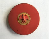 Vintage Cosmetic Powder Eagle Compact Rex Fifth Avenue Red Enamel Compact with Mirror