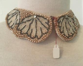 Vintage 1950s Beaded Collar | Pearl Beaded Peter Pan Collar | Truly Regal Art Craft Japan Beaded Collar
