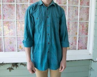 Vintage Men's Teal Green Button Down