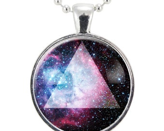 Sacred Geometry Galaxy Triangle Necklace, Pagan Triad Jewelry, Geometric Trinity Pendant (1166S25MMBC)