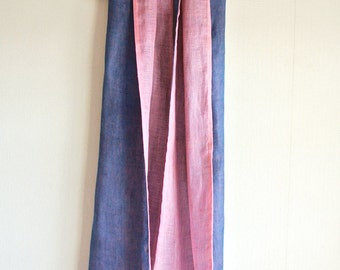 Natural dyed Indigo blue and Pink Safflower double faced Linen scarf