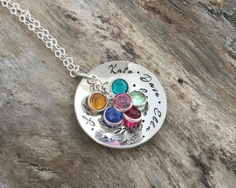 Personalized Necklace for Grandma | Birthstone Necklace for Grandma | Sterling Silver | Birthstone Jewelry