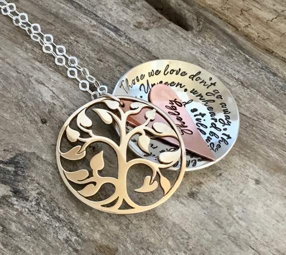 Mothers gift/Memorial Necklace - Personalized Hand Stamped Jewelry - mixed metal locket - bereavement necklace