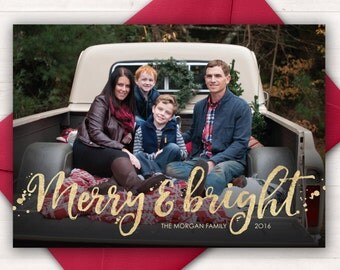 Custom Photo Christmas Card, Merry and Bright, Photo Holiday Cards, Printable Christmas Cards, Black Gold Christmas Cards Christmas Pictures