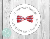 "Bowtie -  Return Address Labels - 2"" Round Stickers - Glossy or Matte - Baby Boys Little Boy Preppy Gingham Argyle Striped Baby Shower Red"