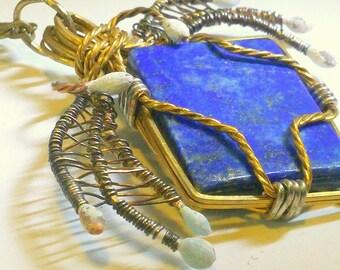 Blue Lapis Spider Pendant Wirewrapped