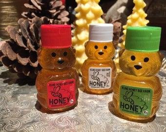 3 pack  Mini Bear Raw Seasons of Honey Christmas  Honey Tasting
