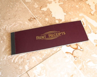 Vintage receipt book, rent receipt book, old receipts, paper ephemera, scrapbooking supplies, rent receipts booklet, 1940s paper