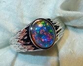 Mens Opal Ring Sterling Silver, Natural Opal Triplet. 10x8mm Oval . item 110207.