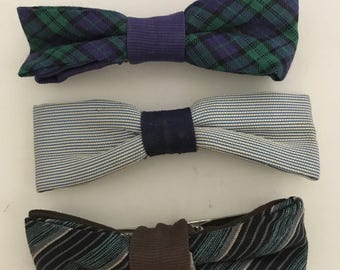 Set of Youth Clip On BOW TIES Vintage Trendy Fashion Holiday Treasury Royal Resistant