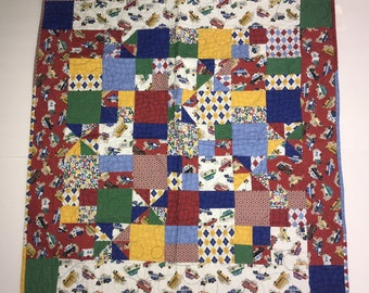 """Handcrafted Boy Baby Quilt Blue Red Yellow Trucks Cars Wall Decor 33"""" x 33"""""""