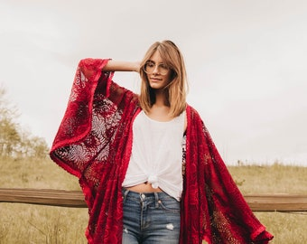 Monarch Kimono in Red Wine