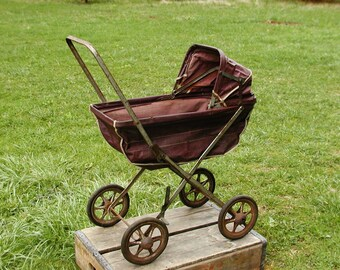 Vintage Baby Doll Carriage Shabby Stroller Cart Childs Toy